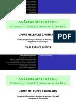 Exposición de Contenidos Programáticos de Cálculo Diferencial e Integral (Diferenciación de Funciones de Valor Real)