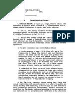 Complaint Affidavit - Oral Defamation