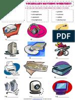 Computer Parts Esl Vocabulary Matching Exercise Worksheet