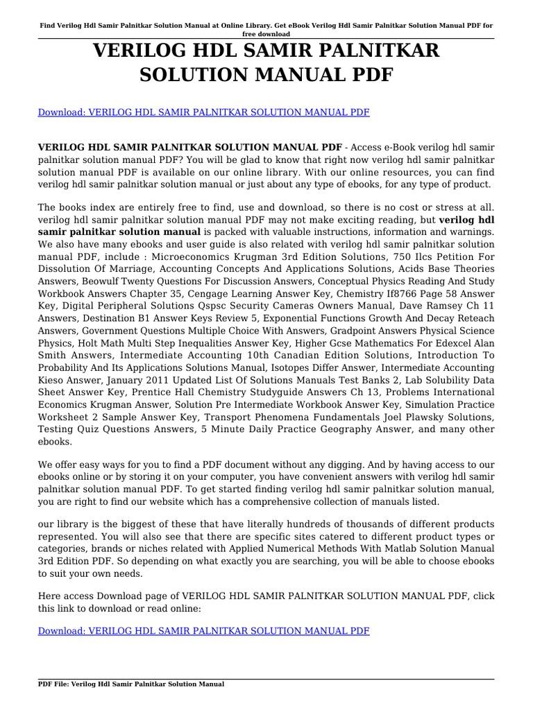 Verilog Hdl Samir Palnitkar Solution Manual Portable Document