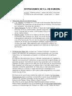 HISTORIA. Tema 4. Primeras Insituciones de e.infantil Aparecidas en Europa. Resumen