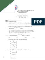 First Quarter Mathematics 9