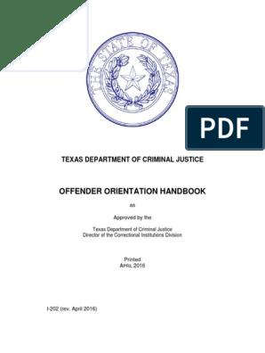 Offender Orientation Handbook English | Prison | Americans