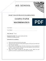 Yr7 2010 Sample Paper Maths
