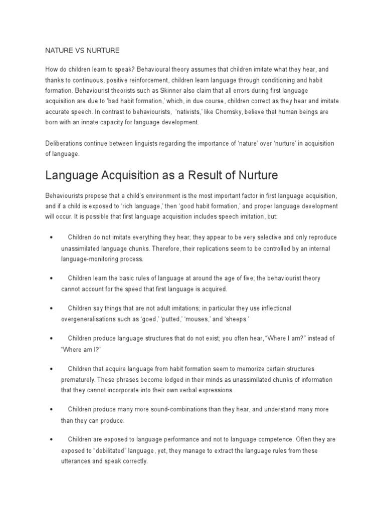 Nature Vs Nurture Language Acquisition Language Development