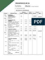 Presupuesto Nº 01