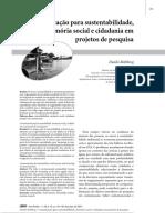 Comunicação Para Sustentabilidade, Memória Social e Cidadania Em Projetos de Pesquisa