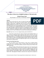 The Effects of Class Size on English Learning at a Thai University