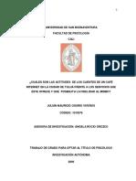 LAS ACTITUDES  DE LOS CLIENTES DE UN CAFÉ INTERNET EN LA CIUDAD DE TULUÁ FRENTE A LOS SERVICIOS QUE ÉSTE OFRECE Y  LA FIDELIDAD AL MISMO.pdf