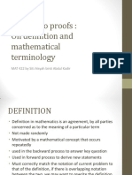 How to Do Proofs Terms and Definitions