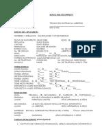 Formato Solicitud de Empleo Ecudor
