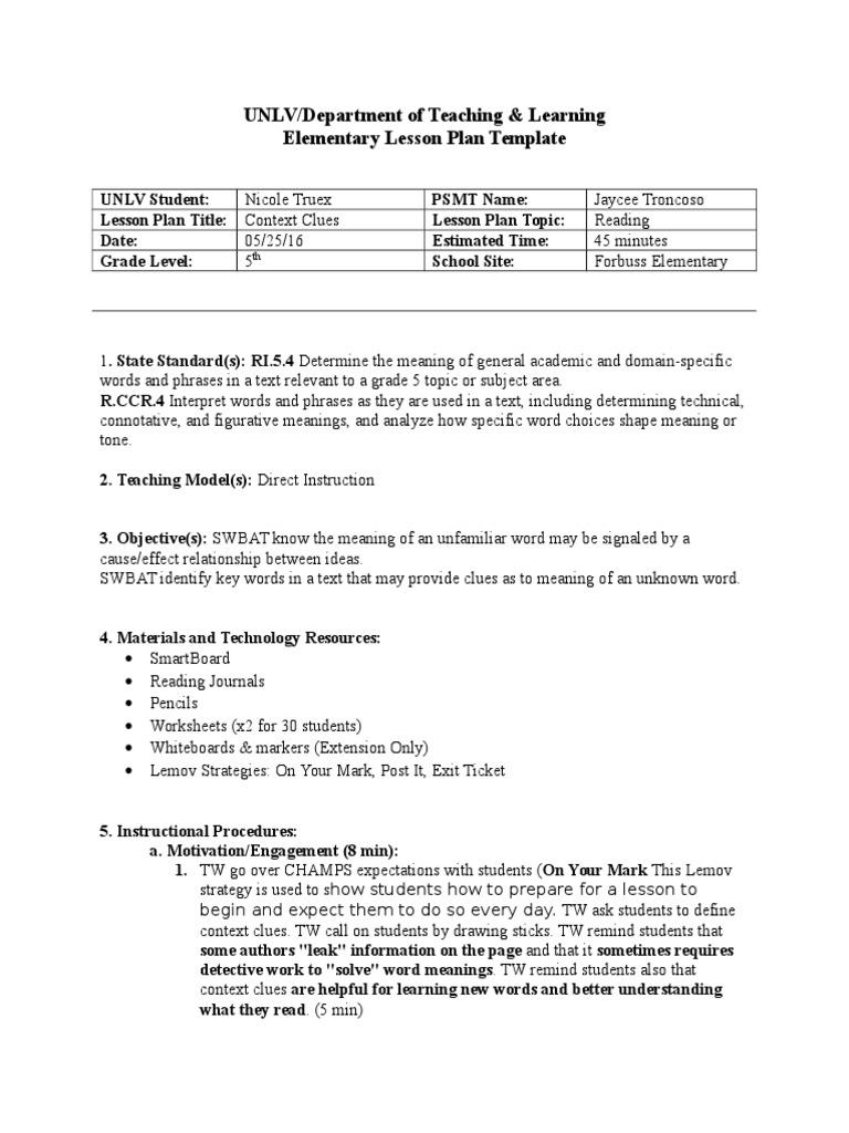 context clues lesson   Educational Assessment   Lesson Plan