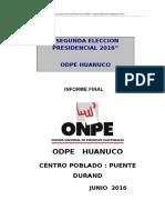 Informe de Actividades Huanuco 2016