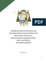 Reglamento Interno de Disciplina Escolar Res. 001 Cmdnna Aprobado, Marzo 2011 Tamaño Carta