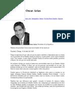 Discurso de Oscar Arias