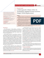 A Retrospective Study of the AL Technology Implant System used for Single-Tooth Replacement