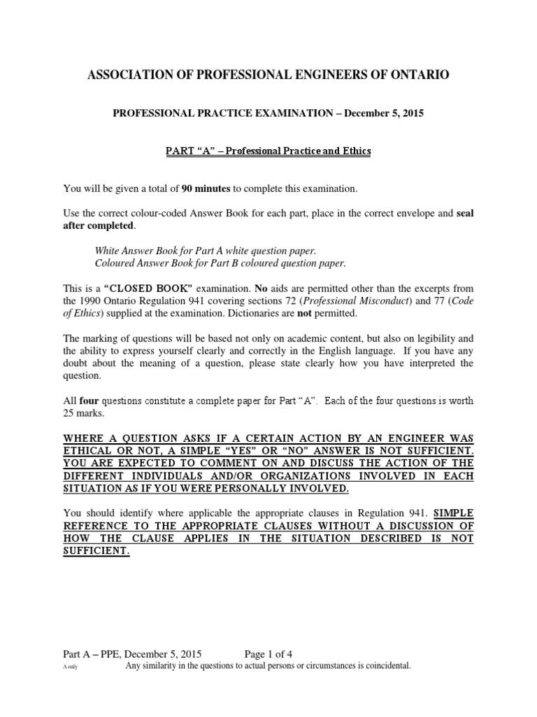 PPE exam Dec 5,2015 | Engineer | Professional Ethics