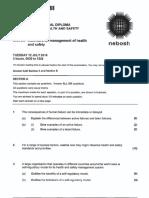 NEBOSH IDIB Unit a Question Sheet Pastpaper