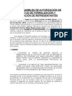 Acta de Asamblea de Autorización de Solicitud de Formalización y Designación de Representantes