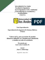 Valores de Km Utilizados en Colombia Para Simulación de Redes de Acueducto