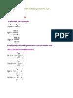 Formule fundamentale trigonometrice