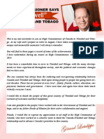 Farewell from Departing Canadian High Commissioner to Trinidad and Tobago His Excellency Gerard Latulippe