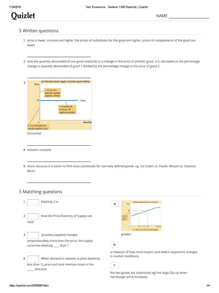 Test Economics Mankiw Ch05 Elasticity Quizlet Price Elasticity