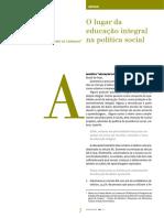 O Lugar Da Educação Integral Na Política Social
