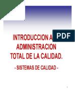 Introducción a La Administración Total de Calidad