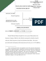 Palmer v. Metropolitan Life Insurance Co, 10th Cir. (2011)