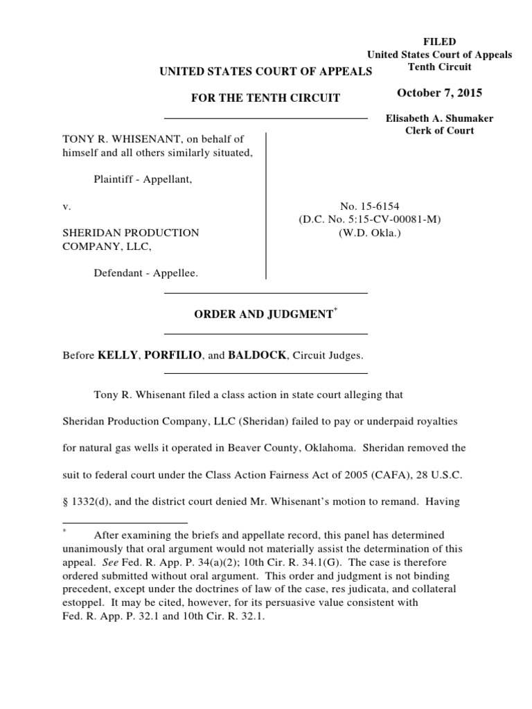 Whisenant v  Sheridan Production Company, 10th Cir  (2015