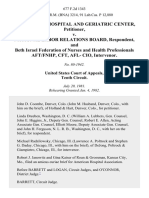 Beth Israel Hospital and Geriatric Center v. National Labor Relations Board, and Beth Israel Federation of Nurses and Health Professionals Aft/fnhp, Cft, Afl- Cio, Intervenor, 677 F.2d 1343, 10th Cir. (1982)