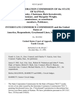 The State Corporation Commission of the State of Kansas, Keith R. Henley, Chairman, Rich Kowalewski, Commissioner, and Margalee Wright, Commissioner, as Constituent Members v. Interstate Commerce Commission and the United States of America, Greyhound Lines, Inc., Intervenor, 933 F.2d 827, 10th Cir. (1991)