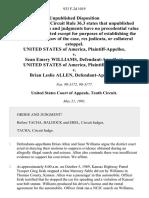 United States v. Sean Emery Williams, United States of America v. Brian Leslie Allen, 933 F.2d 1019, 10th Cir. (1991)