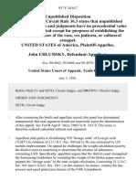 United States v. John Chlumsky, 937 F.2d 617, 10th Cir. (1991)