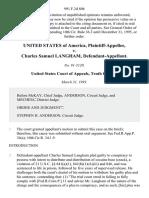 United States v. Charles Samuel Langham, 991 F.2d 806, 10th Cir. (1993)