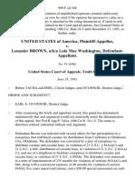 United States v. Lenanier Brown, A/K/A Lola Mae Washington, 999 F.2d 548, 10th Cir. (1993)