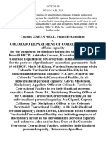 Charles Greenwell v. Colorado Department of Corrections, in Its Official Capacity for the Purpose of Preliminary Injunction Only Pursuant to Rule 65 Frcp Aristedes Zavaras, Executive Director of the Colorado Department of Corrections in His Official Capacity for the Purpose of Preliminary Injunction, Pursuant to Rule 65 of Frcp Mark McKinna Warden/superintendent of the Colorado Territorial Correctional Facility in His Individualized Personal Capacity N. Clarr, Major at the Colorado Territorial Correctional Facility, in His Individualized Personal Capacity Gloria Masterson, Disciplinary Appellate Officer at Colorado Territorial Correctional Facility in Her Individualized Personal Capacity Dennis Dean, Lt., Disciplinary Hearing Officer at the Colorado Territorial Correctional Facility, in His Individualized Personal Capacity Joe Giganti, Captain Cellhouse One Disciplinary Officer at the Colorado Territorial Correctional Facility, in His Individualized Personal Capacity James Cowan, Lieut