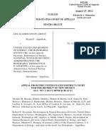 Los Alamos Study Group v. US Department of Energy, 10th Cir. (2012)