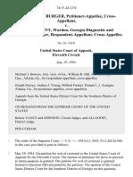 Christopher A. Burger, Cross-Appellant v. Walter A. Zant, Warden, Georgia Diagnostic and Classification Center, Cross-Appellee, 741 F.2d 1274, 11th Cir. (1984)