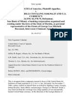 United States v. U.S. Treasury Bills Totaling $160,916.25 and U.S. Currency Totaling $2,378.75, Sun Bank of Miami, a Banking Corporation Organized and Existing Under the Laws of the State of Florida, as Personal Representative of the Estate of George Lee Mitchell, Deceased, Intervenor-Claimant-Appellant, 750 F.2d 900, 11th Cir. (1985)
