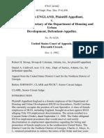 F. Marilyn England v. Jack Kemp, Secretary of the Department of Housing and Urban Development, 976 F.2d 662, 11th Cir. (1992)