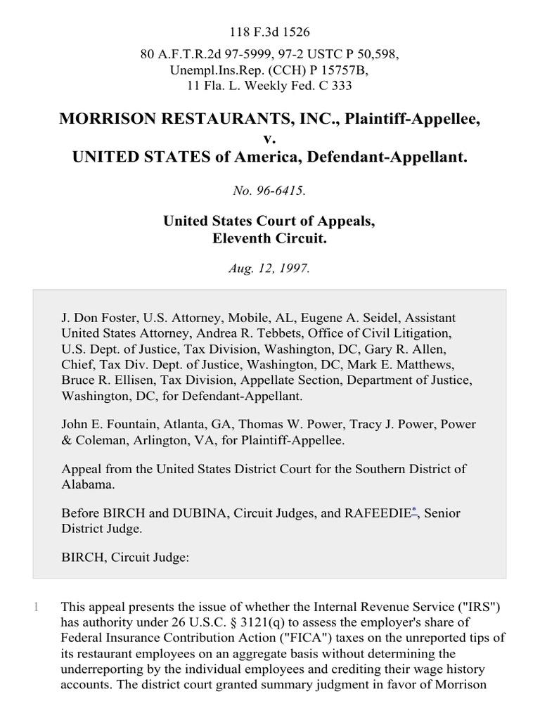Morrison Restaurants Inc V United States 118 F3d 1526 11th Cir