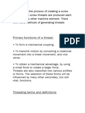 Primary Functions of a Thread | Screw | Metalworking