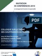 Programme Du Colloque Sur Les Souffrances Au Travail - 24.06.2010