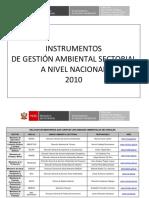 Instrumentos de Gestión Ambiental Sectorial a Nivel Nacional