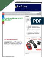 Transistor Bipolar o BJT_ NPN, PNP - Electrónica Unicrom