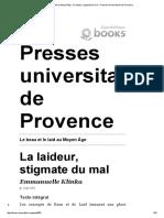 Le Beau Et Le Laid Au Moyen Âge - La Laideur, Stigmate Du Mal - Presses Universitaires de Provence