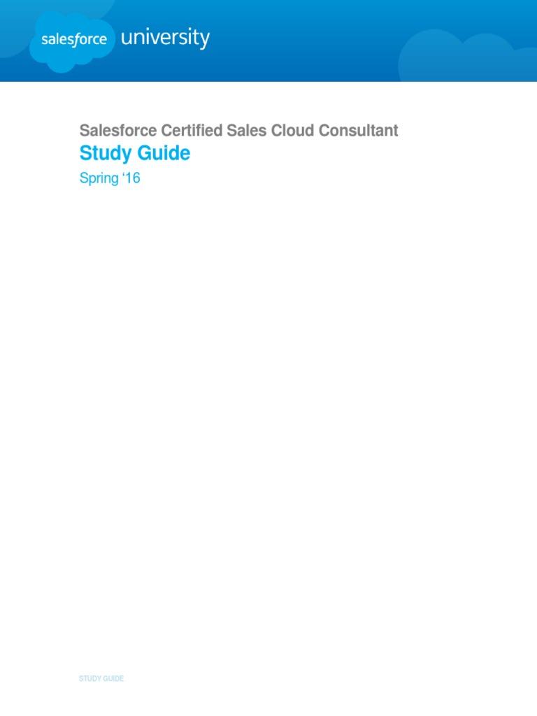 Sg Certified Sales Cloud Consultant Salesforce Cloud Computing
