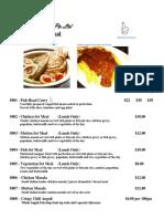 D Cuisines Menu Indian Food Ala Carte With Pic